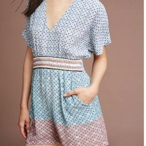 NWOT Anthropologie brand patterned romper XS